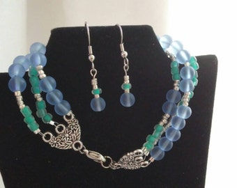 Sea glass bead bracelet with FREE matching earrings