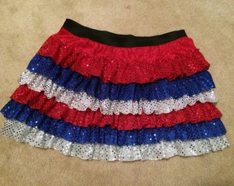 Sparkle  running skirt- ruffles with patriotic colors