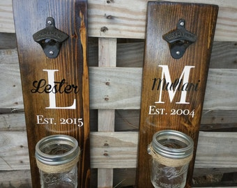Wooden Bottle Opener - Rustic Beer Bottle Opener - Wall Mounted Beer Bottle Opener - Wedding Gift - Rustic Wedding Favor - Fathers Day