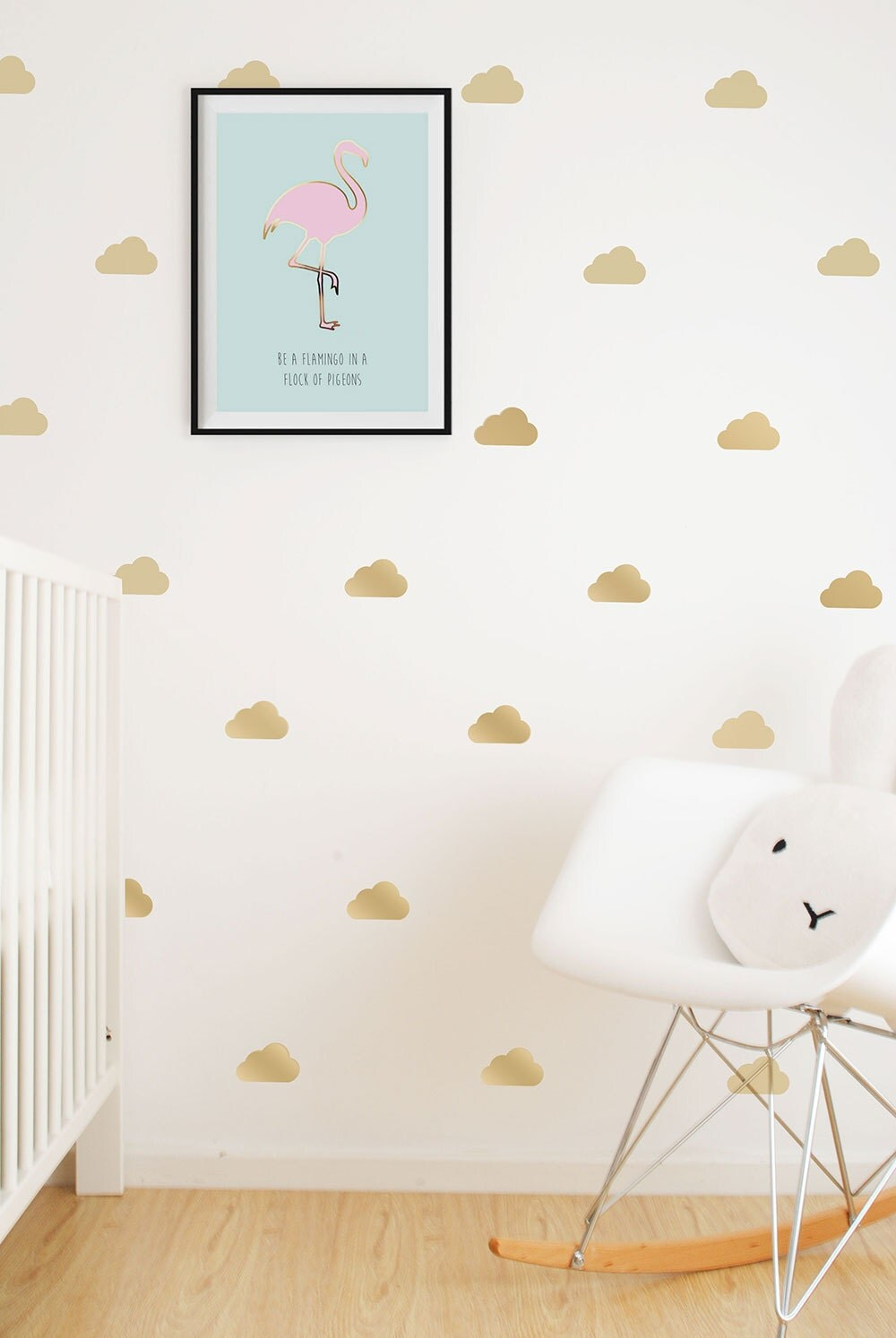 Gold Clouds Wall Vinyl Stickers Decals