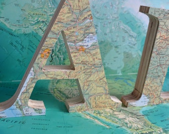 Frestanding Wedding Letters –  Travel Map Wooden Letters – Around the World  Décor  –  Vintage Map Letter – Old Map Letters
