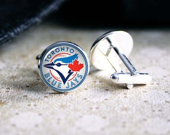 Blue Jays baseball team cufflinks. Gift idea for men, Fathers day, Christmas, prom, wedding cuff links.