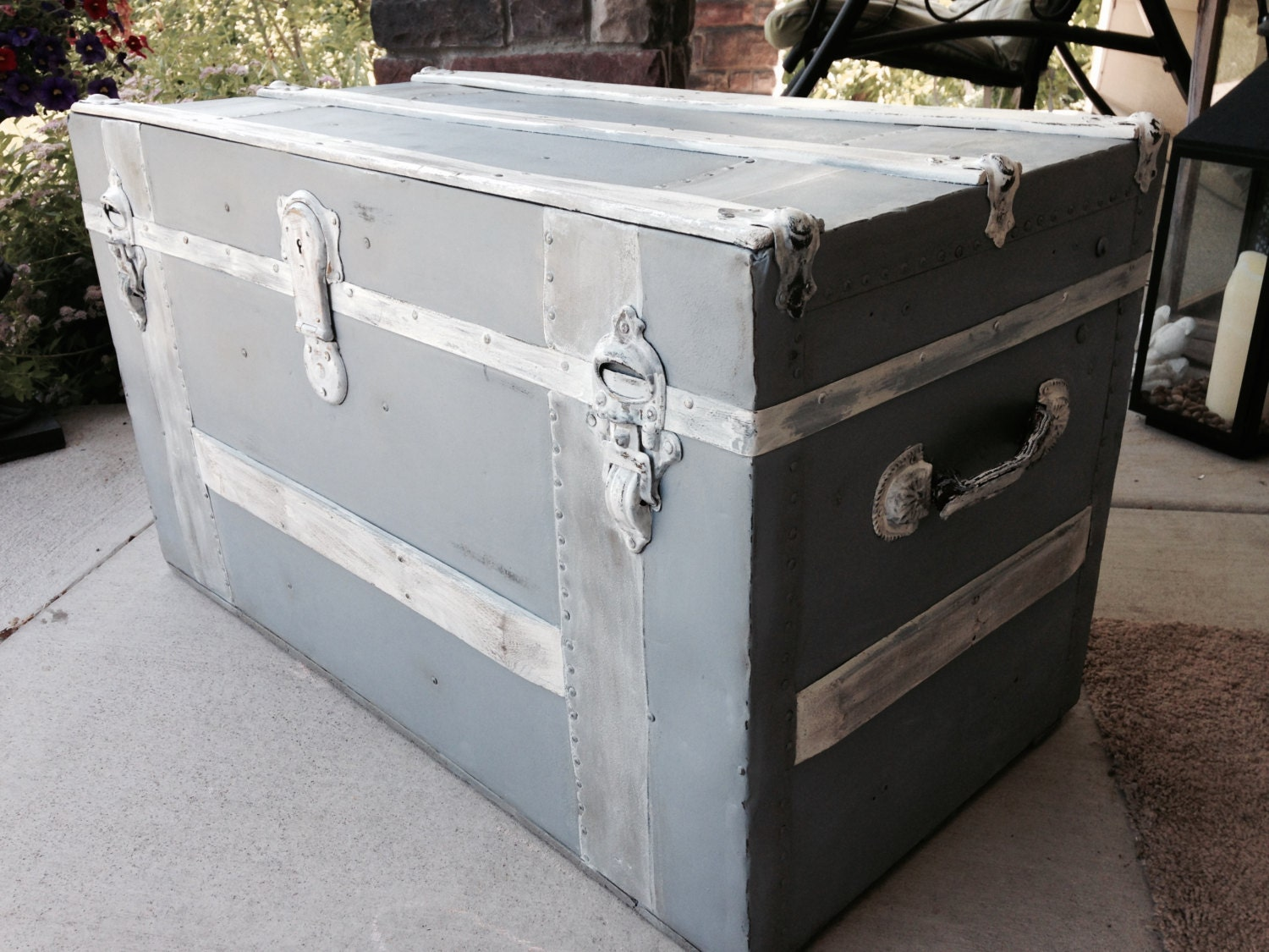 Antique Gray Blue Chalk Painted Trunk Coffee Table