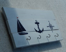 Hand Painted Reclaimed Wood Nautical Towel Rack / Coat Rack