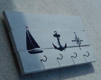Hand Painted Reclaimed Wood Nautical Towel Rack / Coat Rack