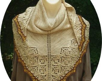 Handknitted Tawny Wool/Silk/Cashmere Lace Shawl