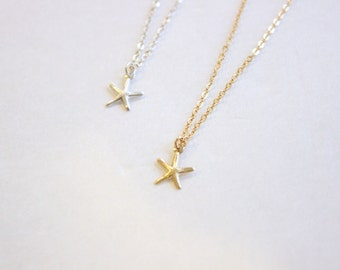 Dainty Starfish Necklace, Sterling Silver or 14k Gold Filled Necklace