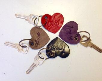 Leather Heart Keychain- Leather keychain - Love Keychain, Housewarming Gift, Valentines Gift