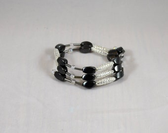 Magnetic hematite wrap bracelet - magnetic wrap bracelet - hematite wrap bracelet - magnetic hematite jewelry - magnetic hematite bracelet