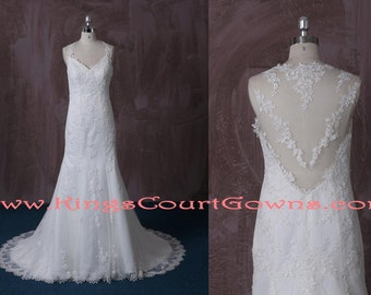 Ivory Lace Trumpet Illusion Back Wedding Dress Gown Chapel Train