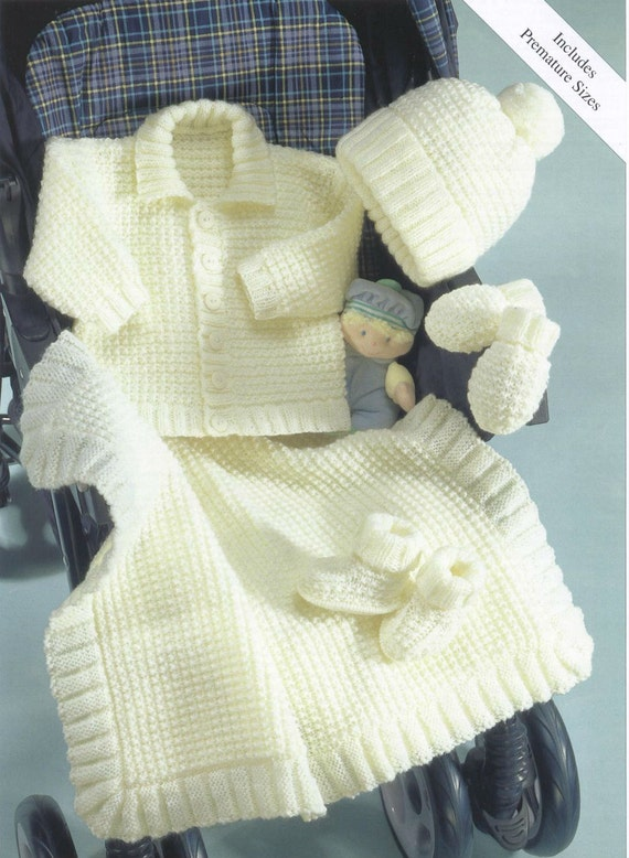 Knit Baby Jacket Hat Mittens Booties Blanket Vintage Knitting
