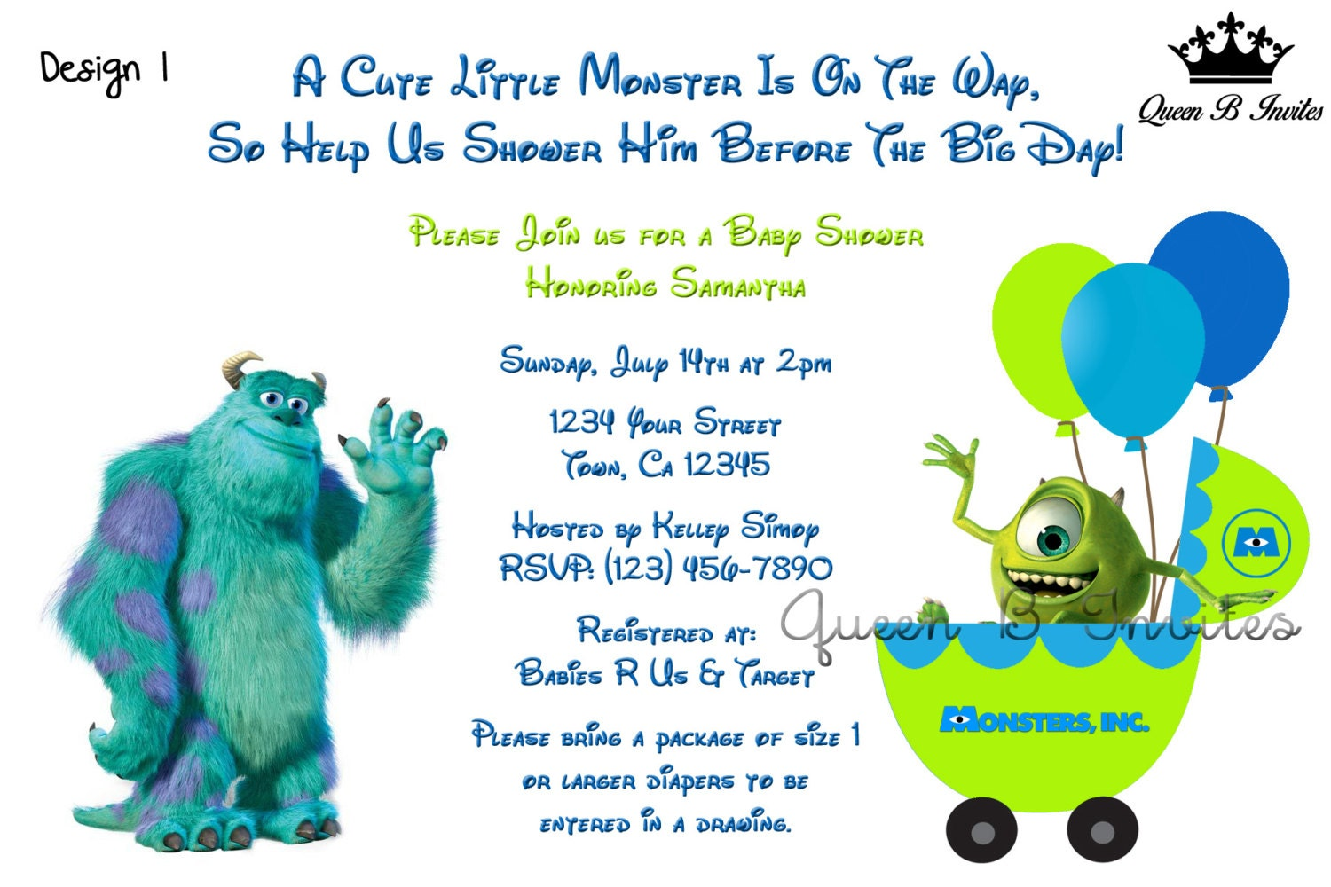 Monsters inc baby shower invitations home design ideas monsters inc baby shower invitation digital file free thank filmwisefo
