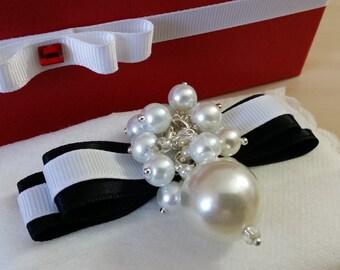 Black Ribbon White Pearls - luxury bow accessory