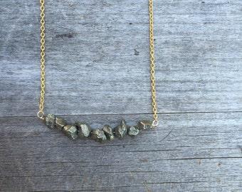 Pyrite Nugget Necklace - Pyrite Necklace - Gold Necklace - Petite Necklace - Bridesmaid Necklace - Gold Pyrite