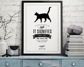Funny Wall Prints - Home Wall Decor - Retro Art Poster - Giclee Art Print with Quote - - Black Cat Print