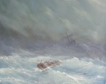"Original Painting 30x30 cm Oil on Canvas ""Storm sea"""