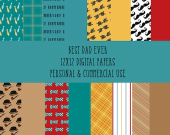 Best Dad Ever 12x12 Digital Paper Pack
