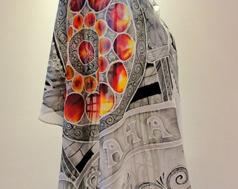 Unique Hand Painted Pure Silk Scarf-The Astronomical Tower in Prague- original silk scarves-tower silk scarf-art silk scarf-prague scarf