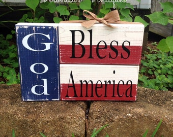 God bless America blocks, Americana decor, fourth of July, patriotism