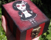 Gothic style wooden box. Broken doll, Decoupage and hand painted. Wooden jewelry box.