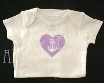 Anchor in Heart Baby Bodsuit with Snaps US Navy Baby Shower Gift Christmas Gift Sailor