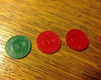 Plastic Sales Tax Tokens 1930's Red and Green Missouri 1 cent & 5 cent