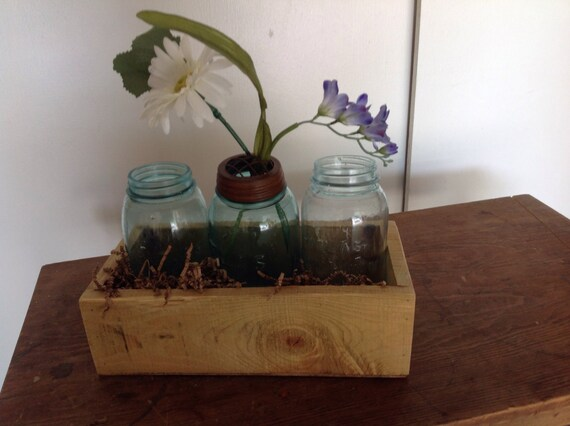 Rustic wood planter box centerpiece mantle accent kitchen