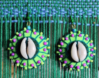 Cowry Earrings-Green