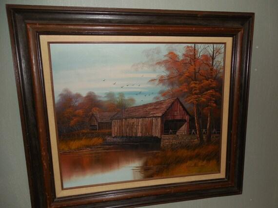 """K Michaelson """"Puente cubierto"""" pintura sobre tela"""