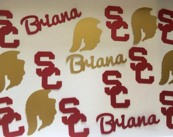 University of Southern California USC Trojans Cardinal & Gold College Graduation Personalized Confetti - Class of 2017, Party