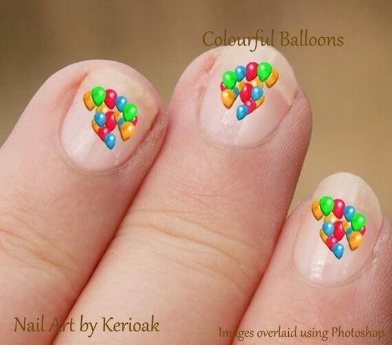 Nail Art Opening Times: Colourful Balloon Nail Art, Balloons For Nails, Red, Gree