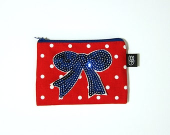 Red Polka Dot Coin Purse, Credit Card Purse, Small Zip Pouch, Card Pouch with Sequined Bow Patch