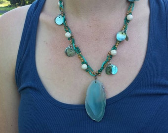 Summer Teal Agate Necklace