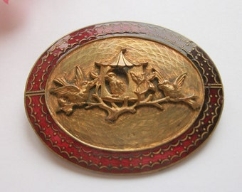 Vintage Victorian Gilt Scarf Clip, Ruby Red Enamelled Edge,  Gift, Bird and Bird Box Decoration