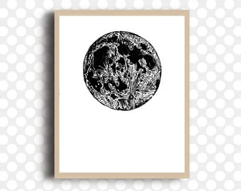 Moon POSTER Planet Art Vintage Moon Print Home Decor Black and White Art Graphic Design Archival Paper Ready to Frame Office Print Custom