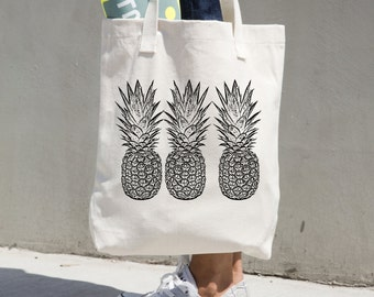 Pineapple tote bag market tote pineapples cotton canvas black carry all book bag library grocery beach aloha diaper wanderlust welcome aloha