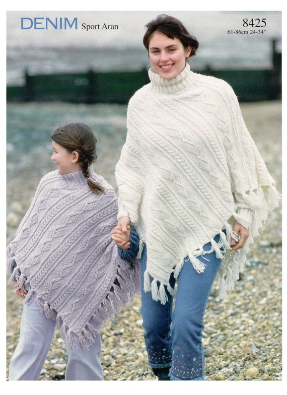 womens ladies childrens poncho aran knitting pattern 99p pdf
