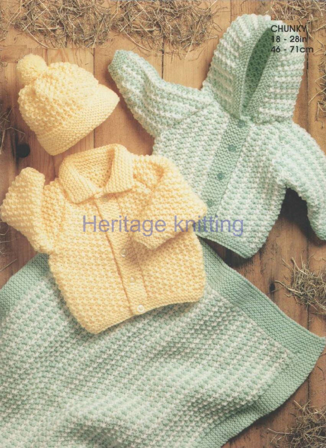 Children s Blanket Pattern Knitting : baby childrens jackets hat and blanket chunky knitting pattern