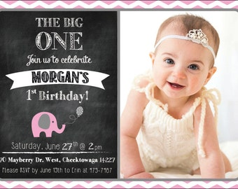 Elephant First Birthday Invitation