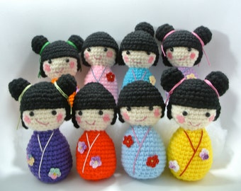 Japanese Style Friendship Dolls - Handmade, assorted colors Crocheted to order