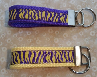 Tiger Stripe Yellow Purple LSU Key Fob Keychain Keyring -- Proceeds to animal charities