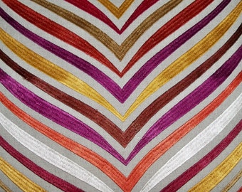 LEE JOFA KRAVET Bargello Embroidery on Linen Fabric 10 Yards Persimmons Brown Gold Multi