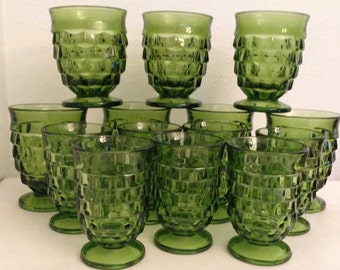 Whitehall Indiana Glass Green Footed Glasses Tumblers Set of 14