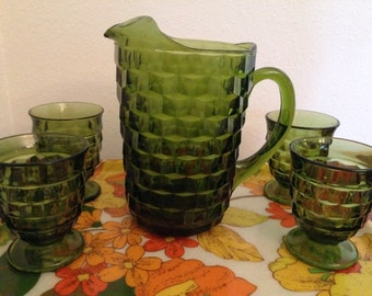 Whitehall Pitcher and Set of 4 Water Glasses Tumblers Green by Indiana Glass