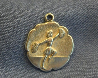 Cheerleader medallion silver plate charm