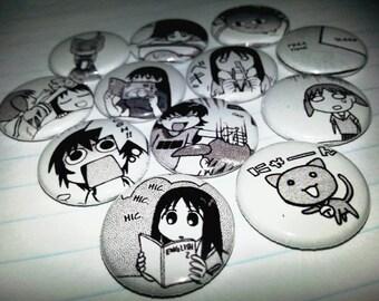 12 one-inch Azumanga Daioh button pins