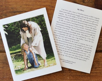 My Hero - Single Blank Note Card & Envelope; Christian Note Card; Religious Note Card; Encouragement Card; Thinking of You Card