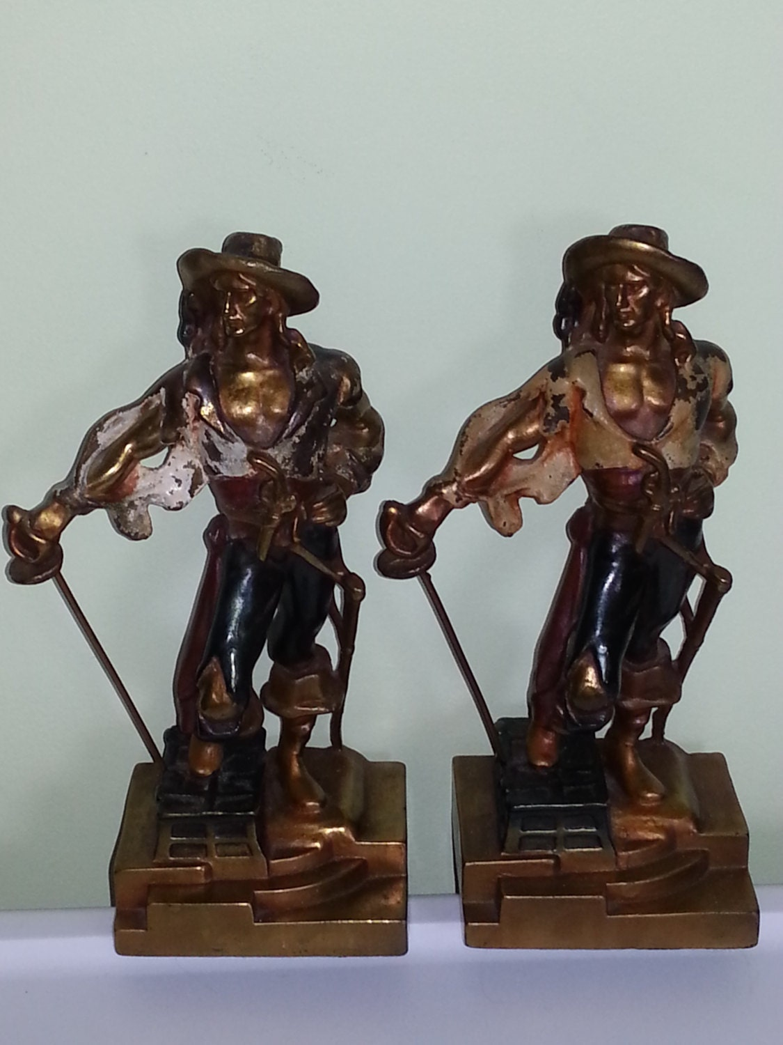 Pirates bronze clad bookends circa 1930 39 s armor by absolutelyteddy - Armor bronze bookends ...