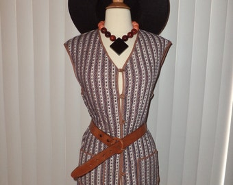 Vtg Handmade Reversible Boho Hippie Folk Quilted Tunic Vest Sz L -XL