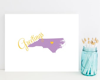 State Stationery - State Stationary - North Carolina Stationery - Choose Your State - Thinking of You Card - ECU Stationery Gift